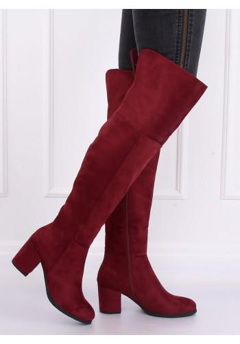 Semišové dámské kozačky nad kolena bordové barvy na podpatku