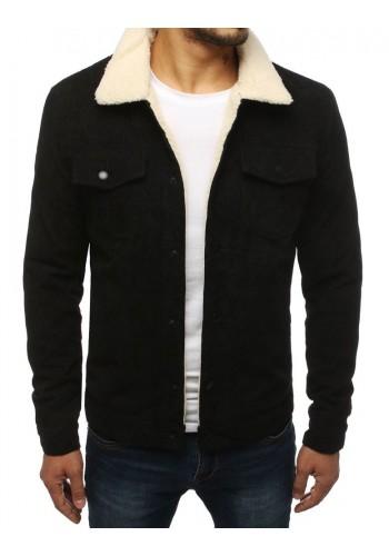 Manšestrová pánská bunda černé barvy s kožešinou