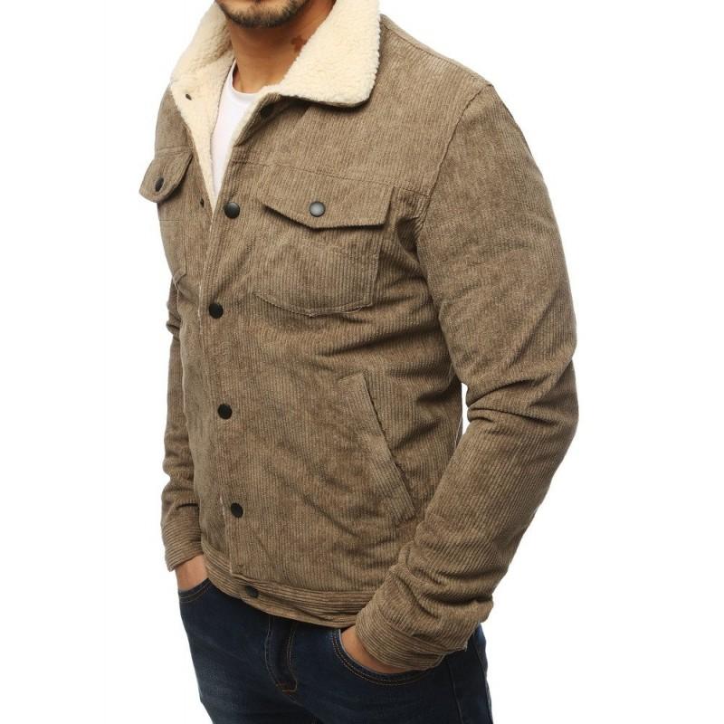 Pánská manšestrová bunda s kožešinou v kaki barvě