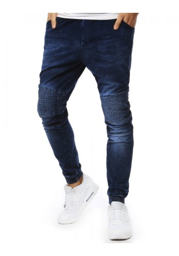 Módní pánské Joggery tmavě modré barvy s riflovým vzhledem