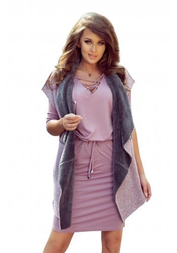 Dámská oboustranná teplá vesta s kapsami v růžovo-šedé barvě
