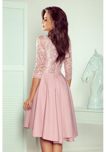 Asymetrické dámské šaty růžové barvy s krajkovým výstřihem
