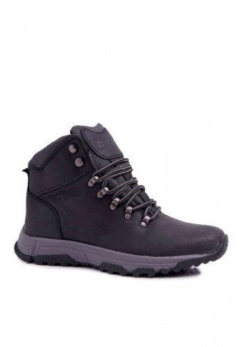 Pánská kožená trekingová obuv Big Star v černé barvě