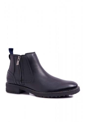 Pánské kotníkové kožené boty v černé barvě