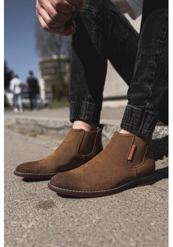 Pánské semišové boty v hnědé barvě