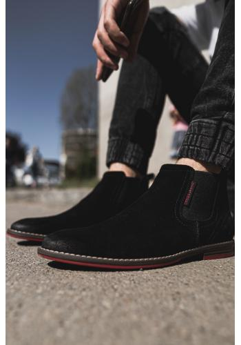 Černé semišové boty pro pány