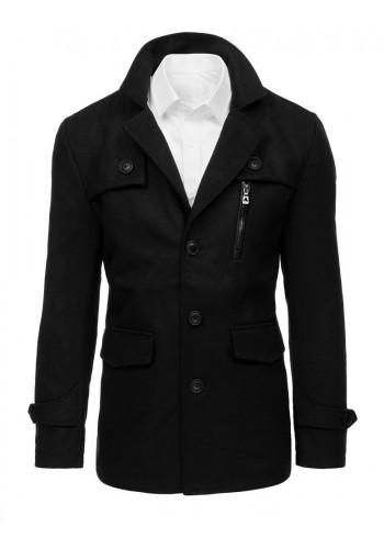Pánský jednořadý kabát v černé barvě