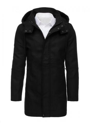 Zimní pánský kabát černé barvy s kapucí