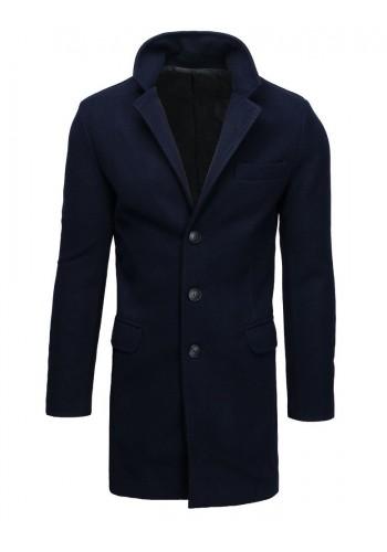 Pánský jednořadý kabát v tmavě modré barvě
