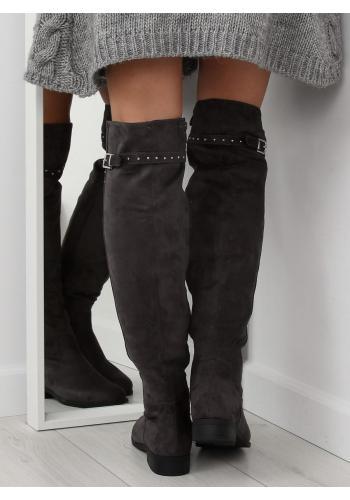 Dámské semišové kozačky nad kolena s vybíjením v černé barvě
