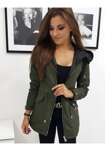 Zelená oboustranná bunda na podzim pro dámy