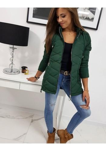 Zelená prošívaná bunda s kapucí pro dámy