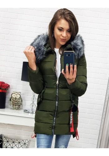 Dámská zimní bunda s kapucí v kaki barvě