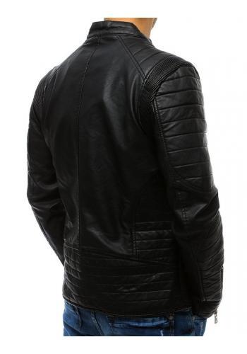 Pánská koženková bunda s prošívanými prvky v černé barvě