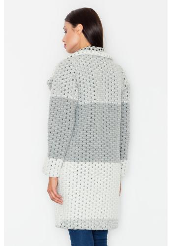 Vlněný dámský kabát v šedé barvě bez zapínání