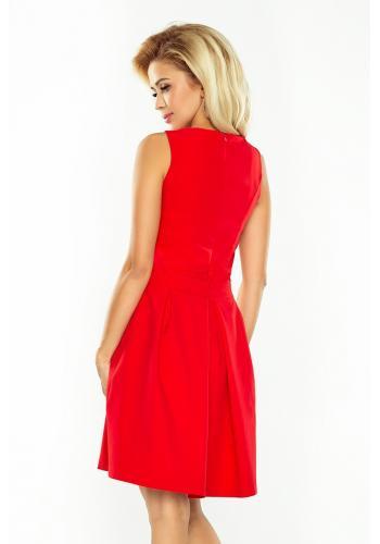 Elegantní dámské šaty červené barvy bez rukávů