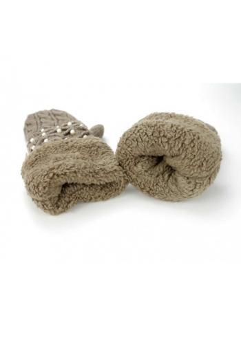 Dámské teplé rukavice s perlami v hnědé barvě