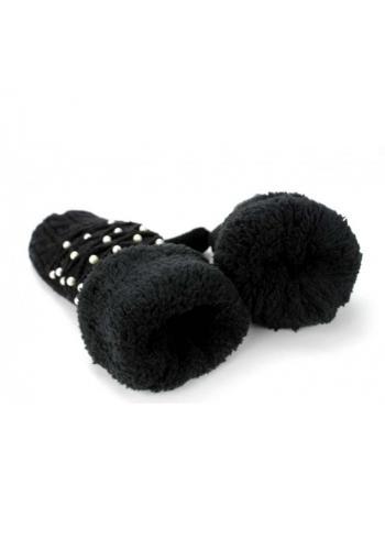 Černé teplé rukavice s perlami pro dámy