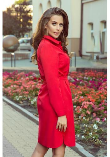 Červené košilové šaty s vázáním pro dámy