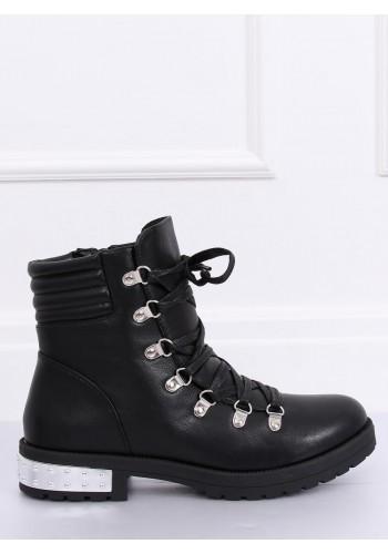 Dámské stylové boty v rockovém stylu v černé barvě
