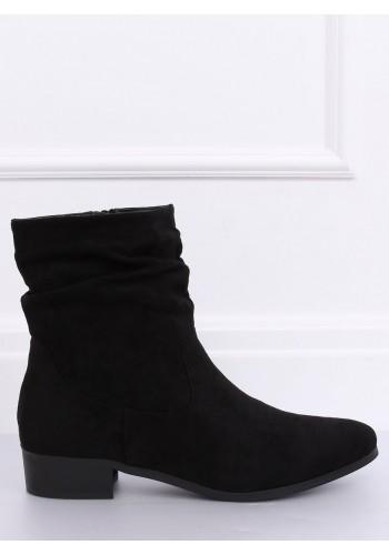 Semišové dámské boty černé barvy s nařaseným svrškem