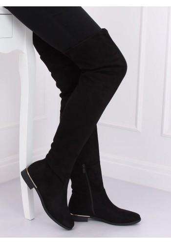 Dámské semišové kozačky nad kolena v černé barvě