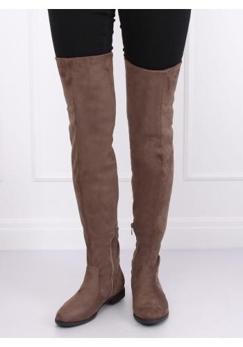 Béžové semišové kozačky nad kolena pro dámy