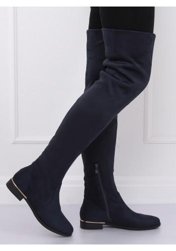 Semišové dámské kozačky nad kolena tmavě modré barvy