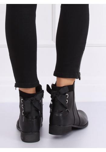 Černé stylové boty s vázáním vzadu pro dámy