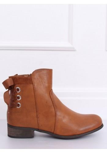 Dámské stylové boty s vázáním vzadu v hnědé barvě