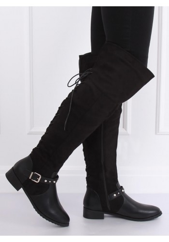 Dámské semišové kozačky nad kolena s perlami a vybíjením v černé barvě