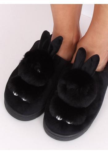 Teplé dámské pantofle černé barvy s králíkem
