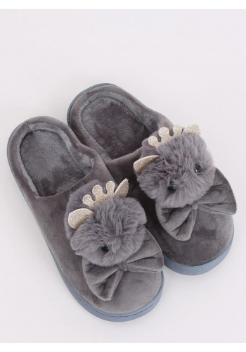 Dámské teplé pantofle s korunkou a mašlí v šedé barvě