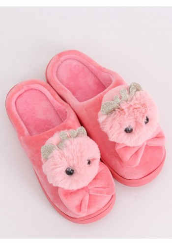 Světle růžové teplé pantofle s korunkou a mašlí pro dámy