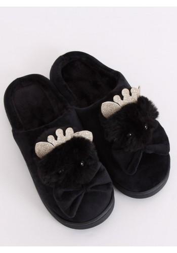 Teplé dámské pantofle černé barvy s korunkou a mašlí