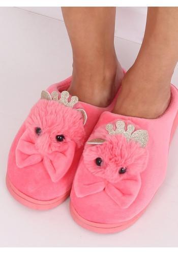 Dámské teplé pantofle s korunkou a mašlí v tmavě růžové barvě
