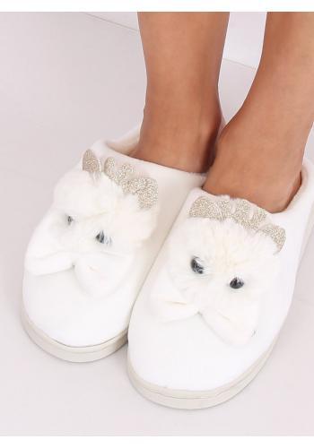 Béžové teplé pantofle s korunkou a mašlí pro dámy