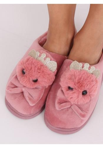 Teplé dámské pantofle starorůžové barvy s korunkou a mašlí