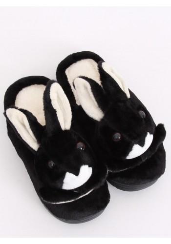 Dámské teplé papuče s králíkem v černé barvě