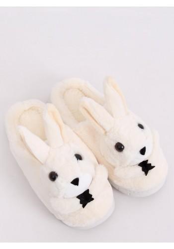 Béžové teplé pantofle s králíkem pro dámy