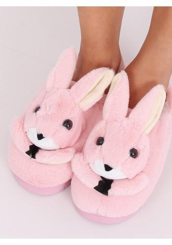 Teplé dámské pantofle světle růžové barvy s králíkem