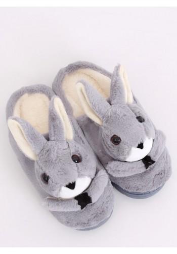 Dámské teplé papuče s králíkem v šedé barvě