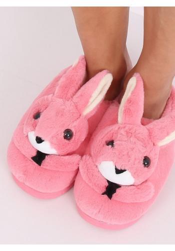 Tmavě růžové teplé pantofle s králíkem pro dámy