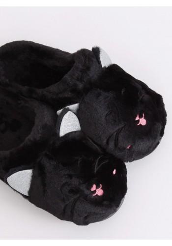 Teplé dámské pantofle černé barvy s ušima