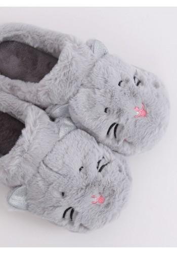 Dámské teplé bačkory s ušima v šedé barvě