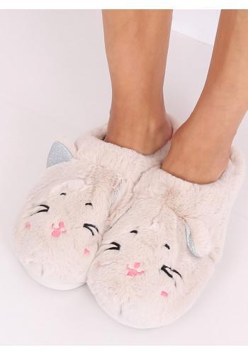 Teplé dámské pantofle béžové barvy s ušima