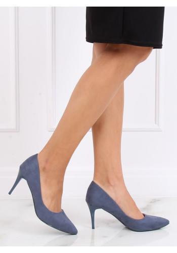 Semišové dámské lodičky modré barvy na štíhlém podpatku