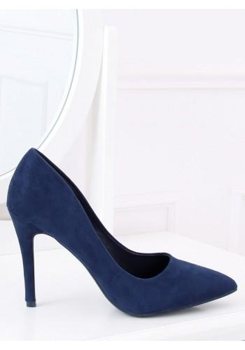 Dámské semišové lodičky na štíhlém podpatku v tmavě modré barvě