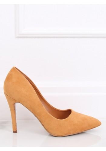 Žluté semišové lodičky na štíhlém podpatku pro dámy
