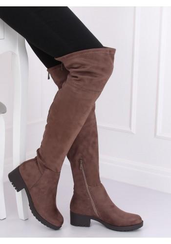 Dámské semišové kozačky nad kolena v béžové barvě